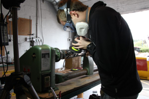 Polishing using a grinder and a lathe