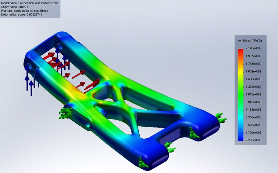 Detailed Design - FEA Simulation of suspension arm