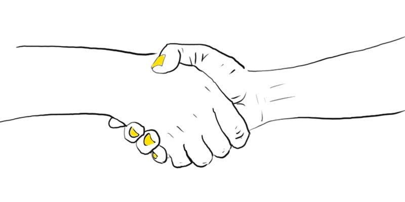 Sketch showing Support in Business with a handshake