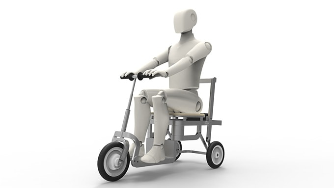 Render of dummy riding mobility scooter