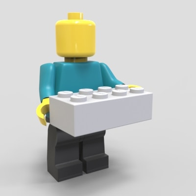 Lego Man carrying Grey Brick. This represents an industrial designer at work.