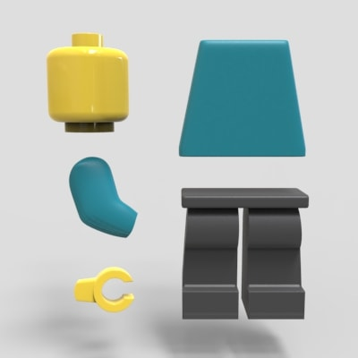 Exploded view of Lego Man to represent manufacturing