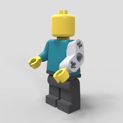 Lego Man with Bionic Arm to represent medical design